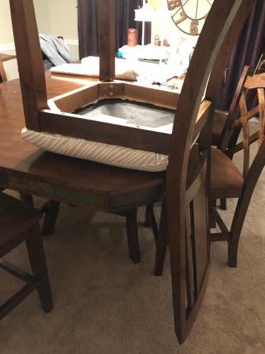 reupholster chairs - reattach the seat to the chair